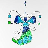 Fensterdeko Engel, Fee aus Resin türkis, grün | Fenster Deko zum Aufhängen | Regenbogenkristall | Sonnenfänger | Engel Deko Weihnachten | Deko Engel | Fensterschmuck Weihnachten