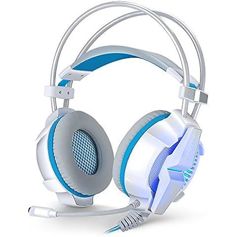 KOTION EACH G7000 - Headset ps4  7.1 Sonido Surround  Gaming Auricular Estéreo USB con Micrófono para PC, PS4, MAC y Móvil Bass Enhanced con Luz LED para Ordenador PC Modo de Vibración Regulable(blanco y azul)