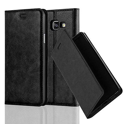 Cadorabo Hülle für Samsung Galaxy A3 2016 (6) - Hülle in Nacht SCHWARZ - Handyhülle mit Magnetverschluss, Standfunktion & Kartenfach - Case Cover Schutzhülle Etui Tasche Book Klapp Style