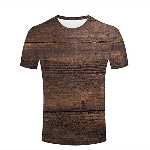 Eurapping Men Tshirts Fashion 3D Print Graphic Brown Wood Pattern Unisex Tees