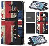 CoverFix Premium Hülle für Samsung Galaxy S7 Edge G935F Flip Cover Schutzhülle Kunstleder Flip Case Motiv (303 England London Rot Blau Schwarz)