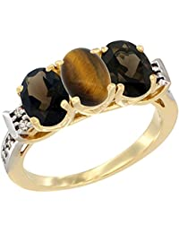 14 ct Gelb Gold Natural Tiger Eye & Smoky Topaz Seiten Ring Ehering Oval 7 x 5 mm Diamant Accent, Größe S
