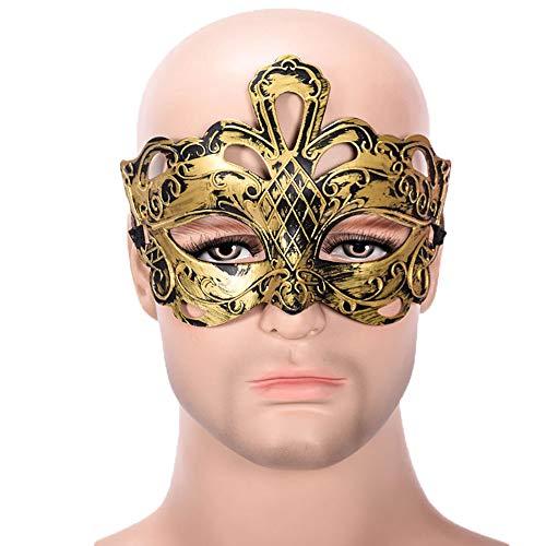 (YIRENXIAO Sexy Maske aus PVC-Kunststoff, halbes Gesicht, für Männer und Frauen, Plastik, Gold, B)
