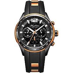 """RHYTHM Herrenuhr Solar """"Earth Saver"""" Chrono Armbanduhr Schwarz Orange - R-ES1401R04"""