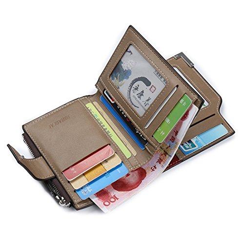 Geldbörsen Herren | PU-Leder Geldbörse | Wallet | Portemonnaie | Brieftasche | Portmonee | Geldbeutel | Vintage Geldsack | Kartenhalter | Kartenetui | Geldklammer von JINBAOLAI (Schwarz) Braun