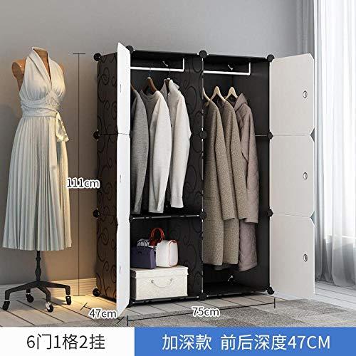 WFQGZ Kleiderschrank Einfache Garderobe Tuch Schrank Kunststoff Kombination Montage Aufbewahrungsschrank Klapp Schlafsaal Stahlrahmen einfache Moderne wirtschaftlich-style4