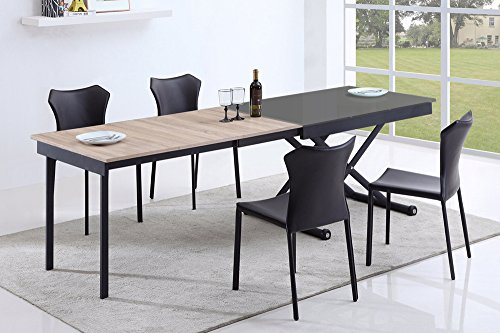 giovanni marchesi design Table Basse relevable 3 allonges Vivaldi Noir 2m55 14 Couverts
