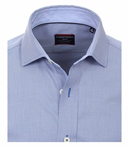 Casa Moda - Casual Fit - Herren Struktur Hemd uninah mit Kent Kragen (462490100 A) Blau (100)