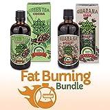 Bundle di bruciare grasso | Tè verde con cacao + Guarana | 2 bottiglie х 100ml liquido a base di erbe naturale estratti | Termogenico allenamento Booster & gestione del peso - adatto per vegetariani e vegani