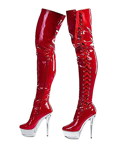 Ruby-Fashion Sexy Overknee Stiefel Stiletto High Heels Crystal Plateau Boots Gogo Lack Damen Schuhe Langschaft Over-Knee Lackstiefel Black Schwarz EU Größe 37-43 (38, Rot)