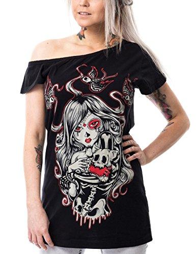 Vixxsin Shirt Cat Muerte Off Shoulder T Schwarz