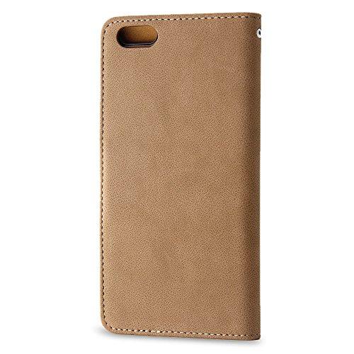 BELK iPhone 6/6S, (11.94 cm), 2-in - 1 Flip Wallet Case aus Wildleder, Retro Schutzhülle mit Magnetverschluss, herausnehmbare Hartschale, inkl. Displayschutzfolie 6S Red Braun - 6S Brown