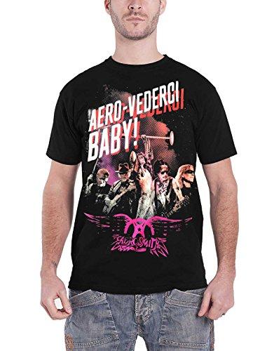 Aerosmith T Shirt Aero Vederci Baby Euro tour 2017 Nue offiziell Herren Schwarz (Aero Shirt)