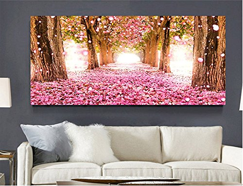 5D Diamond Painting Kit Diy Crafts Set Paint With Diamonds Full Drill Mosaic Art Pictures 3D Round Crystal Rhinestone Counted Kits Cherry Blossom Embroidery Wall Sticker For Home Decoration 51.2'' By 19'' ( cherry blossom )
