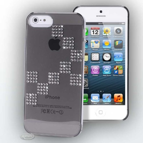 Dama PURO-Cover con cristalli Swarovski per Apple iPhone 5, colore: nero