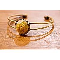 Bracelet en verre - Fleurs naturelles séchées d'Immortelles - 20mm - Idee cadeau Fete des Meres