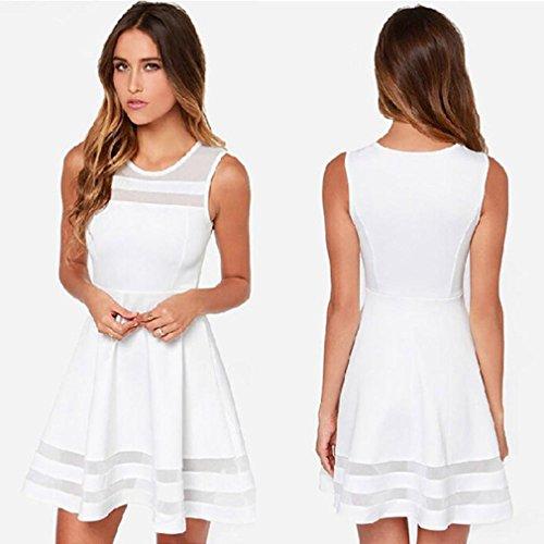Ineternet Femmes Casual Splice Manches Net Yarn Robe Courte Blanc