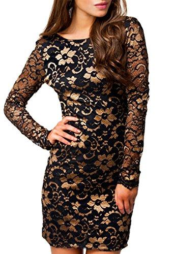 MYWY - Abito pizzo donna vestito maniche lunghe elegante miniabito vestitino party beige nero