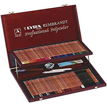 Lyra Coffret bois de 105 crayons de couleur Polycolor avec accessoires, couleurs assorties