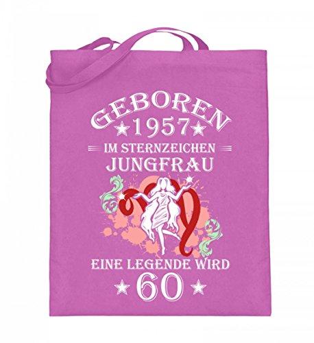 Hochwertiger Jutebeutel (mit langen Henkeln) - Sternzeichen Jungfrau wird 60 Pink