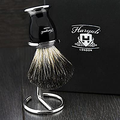 Black Badger Hair Men's Shaving Brush with Black & Metal Handle & Chrome Stand