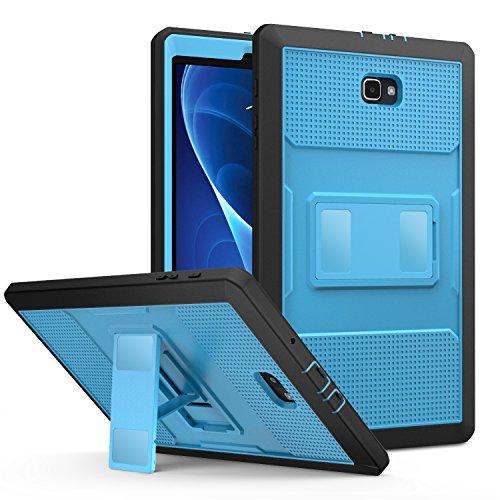 MoKo Galaxy Tab A 10.1 Hülle - [Heavy Duty] Ganzkörper-Rugged Hybrid Stand Cover Schutzhülle mit integriertem Bildschirmschutz für Galaxy Tab A 10.1(2016) Wi-Fi/LTE T580N / T585N, Blau und Dunkel Grau