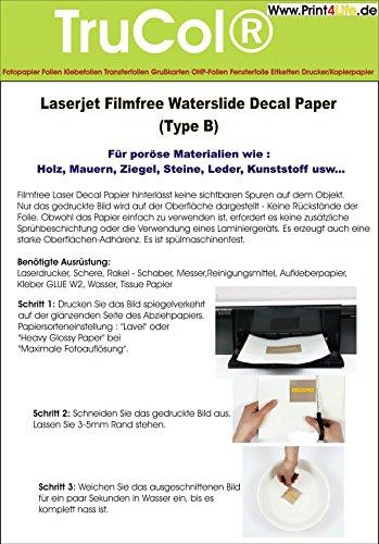 10x Wasserschiebefolie Decal Papier Transfer Folie DIN A4 transparent für Laser Copy nur der Druck Wird übertragen - Keine Folie für poröse Materialien Holz Mauerwerk Ziegel Steine Leder Kunststoff
