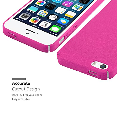 Cadorabo – Mattes Hard Cover Slim Case Frosty passend für >                Apple iPhone 5 / 5S / SE                < - Cover Schutz-hülle in FROSTY-SCHWARZ FROSTY-PINK