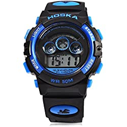 Leopard Shop HOSKA H001S Children Sports Wristwatch LED Digital Watch Day Chronograph LED Water Resistance Blue Black