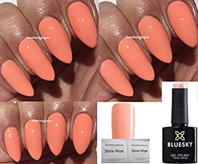 Bluesky Coral Fusion Light Coral Peach Limited Special Edition Nail Gel Polish UV LED Soak Off 10ml PLUS 2 Homebeautyforyou Shine Wipes