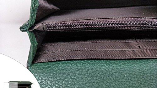 Xinmaoyuan Portafogli donna Portafogli donna lungo Tiger fibbia di testa grande capacità portamonete in vera pelle borsa a mano,Nero Verde