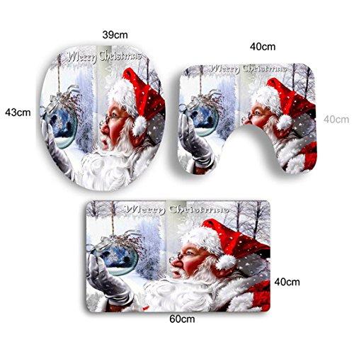 Sockel Teppich + Deckel WC-Deckel + Bad,Moonuy staub widerstand rutschfestigkeit 3   STÜCKE Weihnachten Bad Rutschfeste Sockel Teppich + Deckel Wc-abdeckung + Badematte Set (E) -