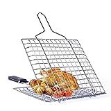 CHEYAL Camping BBQ Korb, Faltbarer & Tragbarer Grillkorb Ultraleicht Roast Fleisch Mit Abnehmbarem Holzgriff, 49,5 X 22,5 X 1,8 cm