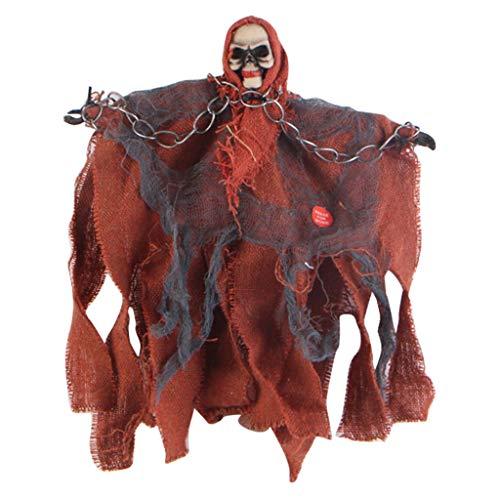 Jamicy® Animierter Hängender Grim Reaper, Größe: ca. 30 x 20 cm, Halloween Prop Party Spielzeug (Orange) (Michaels Halloween-dekoration 2019)