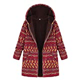 OverDose Damen Winterjacke Windbreaker Wärmemantel Plus Size Damen Kapuzen Causal Slim Soft Langarm Vintage Damen Fleece Dick Coats Zipper Coat(K-A-Rot,EU-42/CN-M)