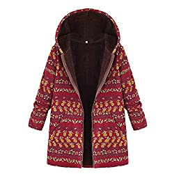 OverDose Damen Winterjacke Windbreaker Wärmemantel Plus Size Damen Kapuzen Causal Slim Soft Langarm Vintage Damen Fleece Dick Coats Zipper Coat(K-A-Rot,54 DE / 5XL CN)