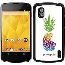 """Funda carcasa para LG Nexus 4 diseño ilustración piña de colores """"piNeapple"""" borde negro"""