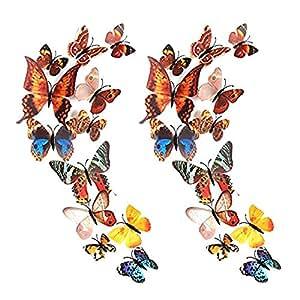 forepin 24 pi ces 3d papillons artificiel d coratifs sticker mural magn tique papillon motif. Black Bedroom Furniture Sets. Home Design Ideas