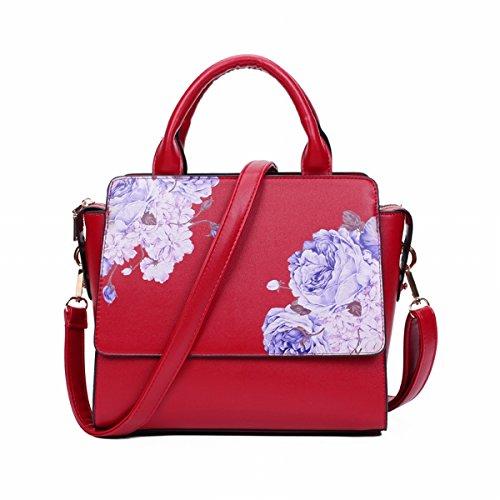 Weibliche Chinesische Flügel packen Rote Druck dame handtasche Schulter tasche Schräge Kreuz Rote Pfingstrose