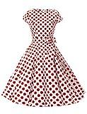 Dressystar Vestidos Mujer Corto Retro Vintage Con Mangas Cortas Rockabilly White Red Dot B XS
