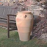 Kreta-Keramik hochwertige Terracotta Amphore mit Henkel, 70 cm, großer Vase handgefertigt und frostfest, mediterrane Deko für den Garten Terrasse Außenbereich, Olea