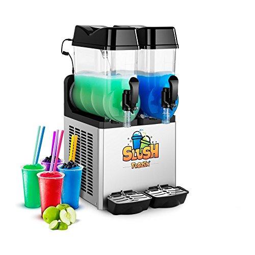 Royal Catering Slush-Eis-Maschine Slushie Maker RCSL 2/12 (2 x 12 L, 500 W, -2 bis -3 °C, BPA-frei, 8-12 Stunden Arbeitszyklus, LED-Beleuchtung)