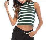 CuteRose Womens Short Mini Mock Neck Cropped Sexy Zip up T-Shirt Cami Vest