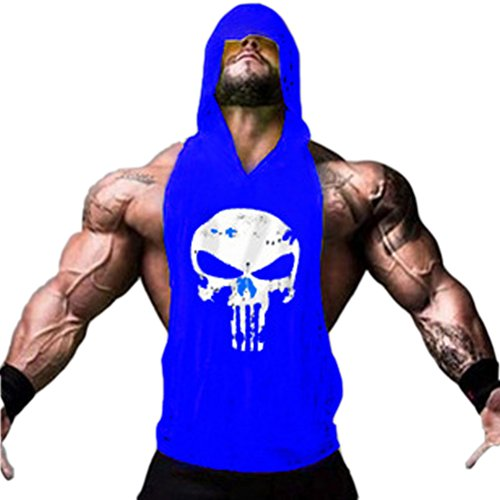 ROBO Débardeur Musculation Homme à Capuche Sport Fitness Gym T-Shirt Haut Gilet sans Manche Casual Bleu Medium