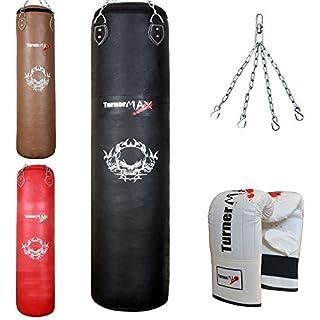 TurnerMAX Leder Boxsack Muay Thai Kickboxen Stanztasche mit Kette und Handschuhen gefüllt schwarz 5 Feet