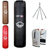 TurnerMAX Genuine Cowhide Leather Boxing Punch Bag Heavy FILLED with Free Chain