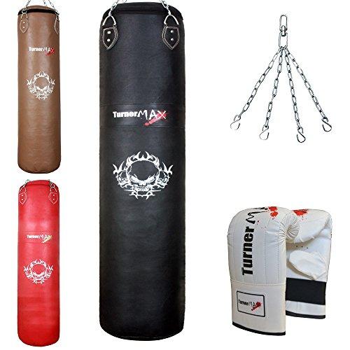 TurnerMAX - Juego de boxeo con saco (piel de vaca, relleno), guantes y cadena negro negro Talla:3 Feet