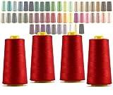 LIALINA - 4 Conos de Hilos Overlock 100% (114 Rojo) Poliéster para Coser a Máquina y Remallar – 40S/2, 3000 Yardas – Hilo Para Remalladora Resistente, Duradero, Colores Brillantes de Máxima Calidad