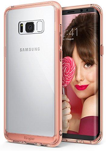 Funda Samsung Galaxy S8 Plus 2017, Ringke [FUSION] Protector de TPU Con Parte Posterior Transparente de PC Carcasa Protectora Biselada - Cristal Oro Rosa Rose Gold