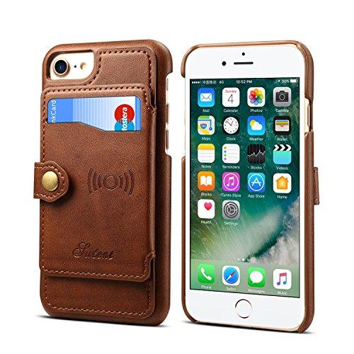 Leder-Schutzhülle für iPhone 6 7 8 Apple,Kartenfächer, Standfunktion, schlank, weich, braun (Geldbörse Kate Spade Glitter)